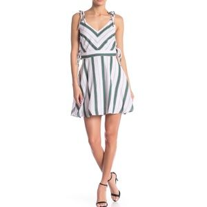 JOA Fit and flare lace up sides mint stripe dress